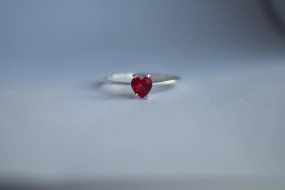 Anel Solitário Em Prata 950 Vermelho