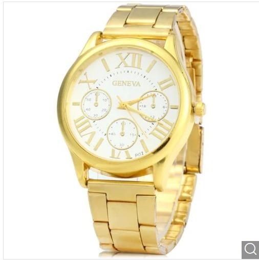 Relógio De Quartzo Em Caixa Dourada Com Banda De Aço