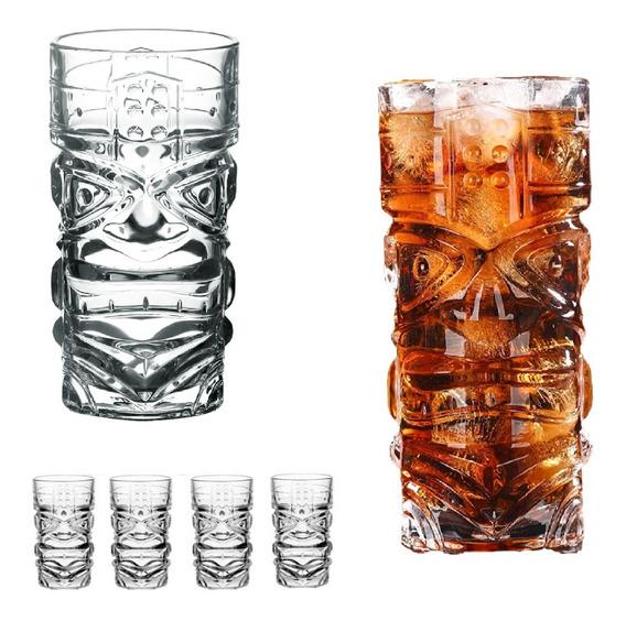 Kit 6 Copos Alto Tiki 420ml Drink Transparente Desenhado