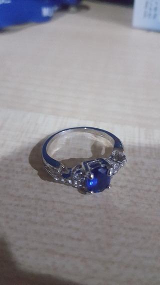 Anel Azul Folheado A Prata Semi Joia