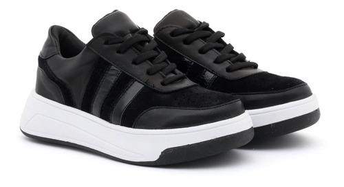 Imagen 1 de 6 de Zapatillas 100 % Cuero Y Gamuza Sneakers Moda Mujer 2021