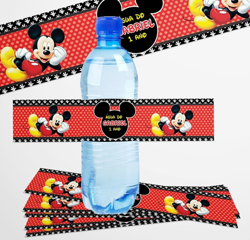 30 Rótulo Adesivo Água 500ml Tema Mickey + Frete Grátis