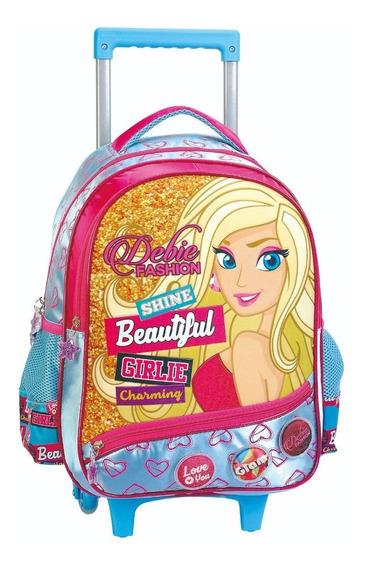 Mochila Rodinha Infantil Debie Tipo Barbie Rosa Azul Grande