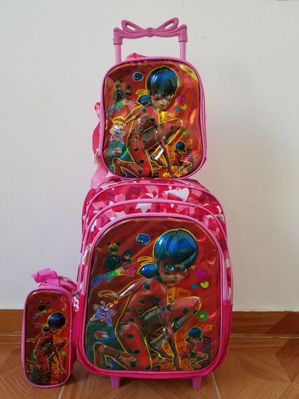 Kit Mochila Infantil Ladybug Lancheira+estojo Rodinhas 3d