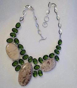 Maxi Colar Pedras Jásper De Prata Cristais Verde Esmeraldas