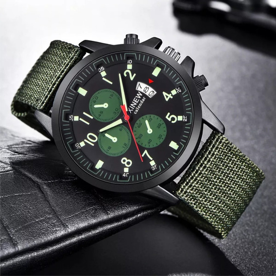 Relógio De Pulso Militar Masculino Pulseira Nylon Verde