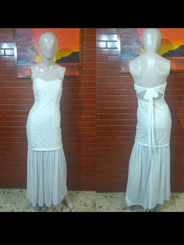 Vestido Blanco Con Brillos Dorados Corte Sirena Strapless