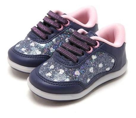 Tênis Infantil Menina Kidy Colors 0090710 Marinho Rosa Promo