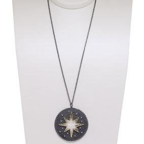 Colar Com Pingente Mandala Estrela - Ródio Negro