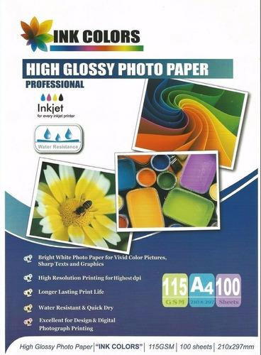 Papel Fotográfico Inkjet Brillante A4 115 Grs X 100 Hojas