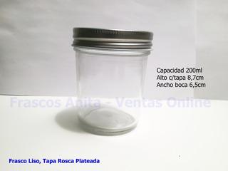 Frasco Tipo Vaso, Tapa Rosca Plateada 200ml