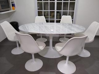 Tulip Saarinen 160 X 90 Cm Base Aluminio Y Carrara Miagala