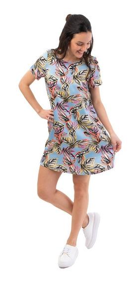 Vestido Corto Estampado De Hojas Mia Loreto Modelo Calatea