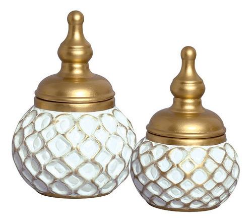 Dupla De Vasos Em Cerâmica Com Tampa P/ Enfeite Aparador