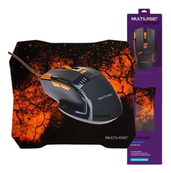 Mouse Gamer + Mouse Pad Gamer 3600dpi Combo Kit Promocional Usb Multilaser Para Jogos Pc Notebook Mo256 Garantia 3 Anos