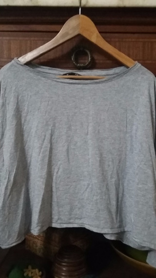 Remera Dama Gris H & M Manga Larga Impecable
