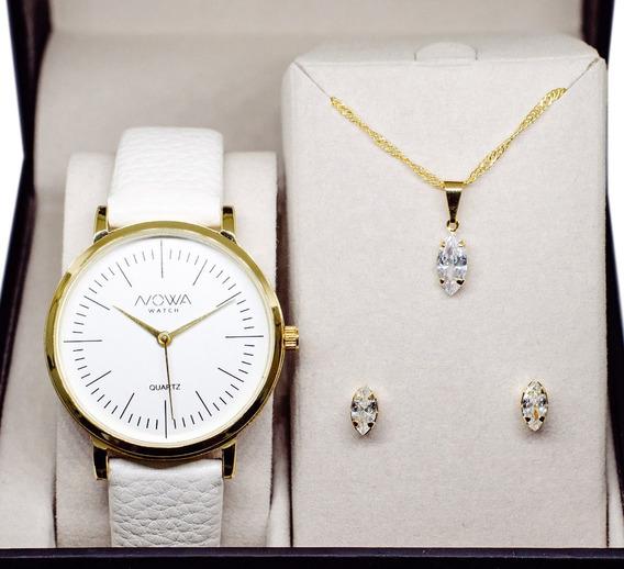 Relógio Nowa Feminino Dourado Couro Nw1407k Com Kit Brinde