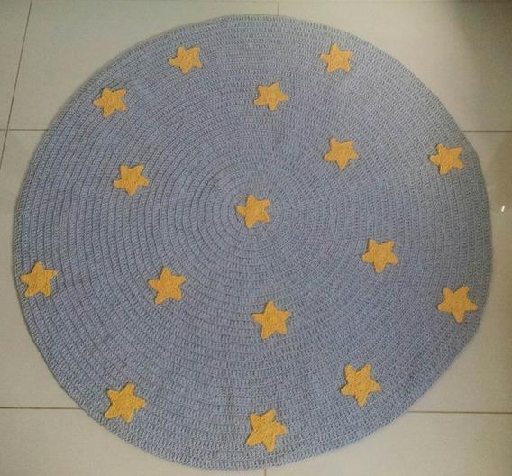 Tapete Redondo Crochê Com Aplicação De Estrelas Quarto Bebê