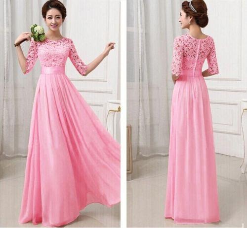 Vestido Rosa Hermoso Encaje Largo Fiesta Formal Moda 2019 L