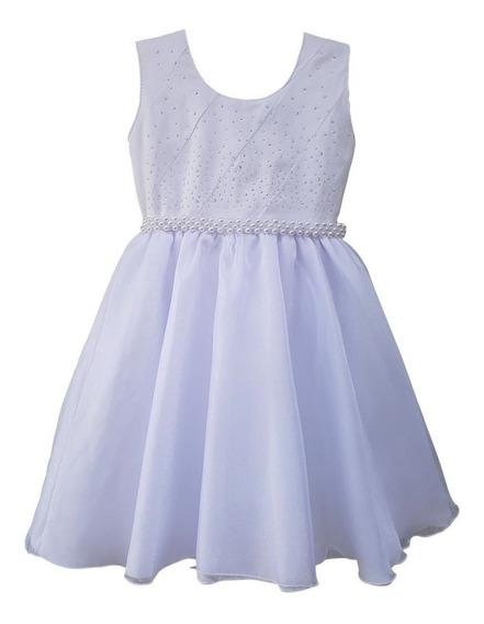 Vestido Batizado Branco Infantil Daminha Ano Novo Luxo