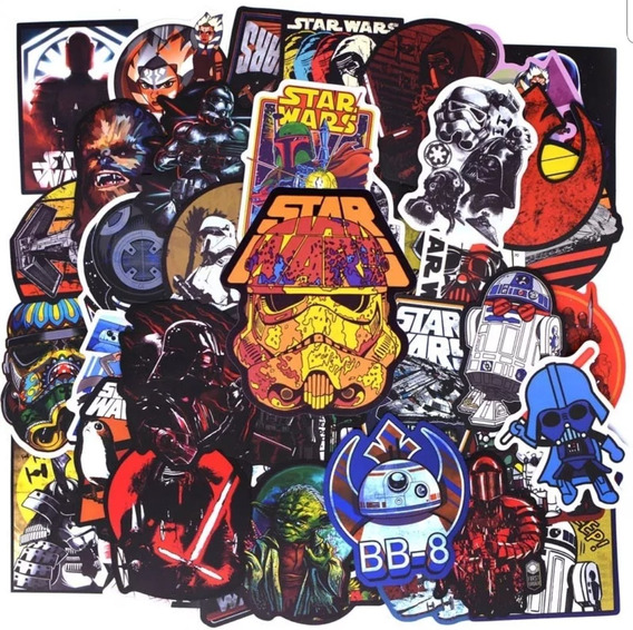 Star Wars 100 Calcomanias Stickers Pvc Contra Agua E Gratis