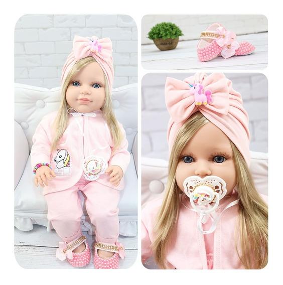 Boneca Bebê Reborn Com Cílios E Acompanha Vários Acessórios