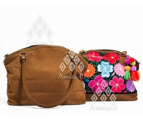 Lote 6 Bolsas Artesanal Mexicano Gamuza Y Flores Bordadas