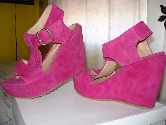 Zapatos Sandalias Gamuza Flecos Fucsia Talle 37.