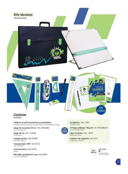 Kit Completo Pizzini Tablero Dibujo 50x60 Atril 6 Posiciones