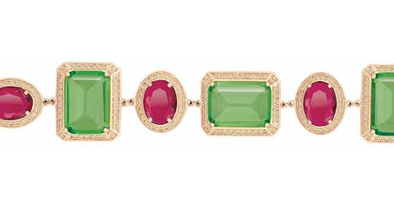Pulseiras Femininas Dourada Pedra Verde Vermelha Bruna Semi