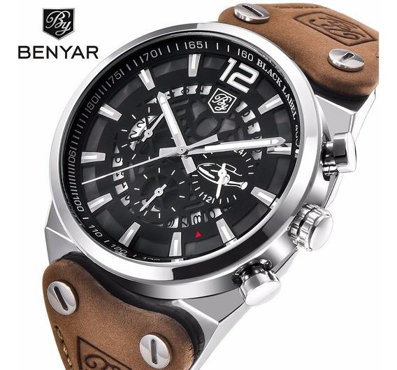 Relógio Masculino Benyar Couro Original Aviador Executivo