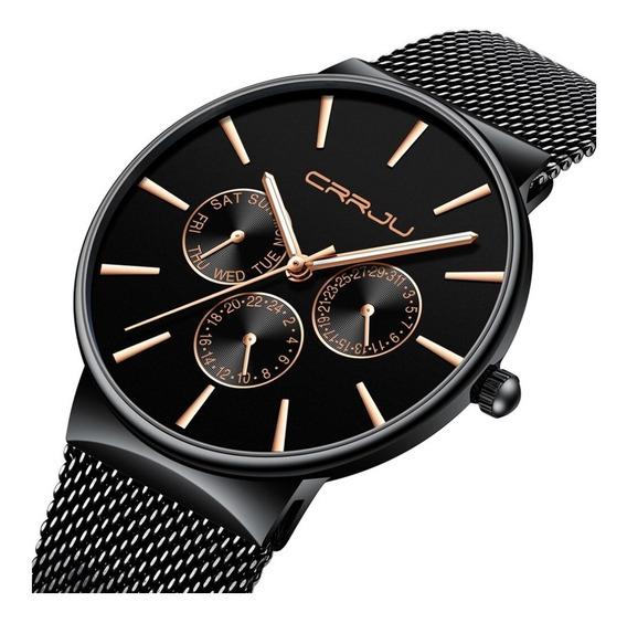 Relógio Masculino Crrju Original Social Casual Luxo Slim