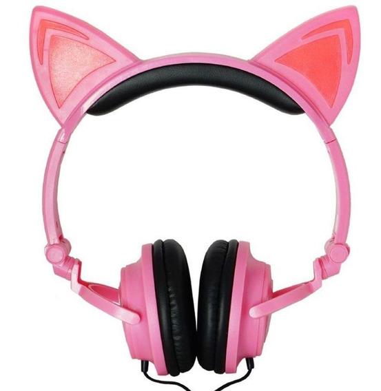 Headphone Orelhas De Gato Com Led P2 Rosa Promoção