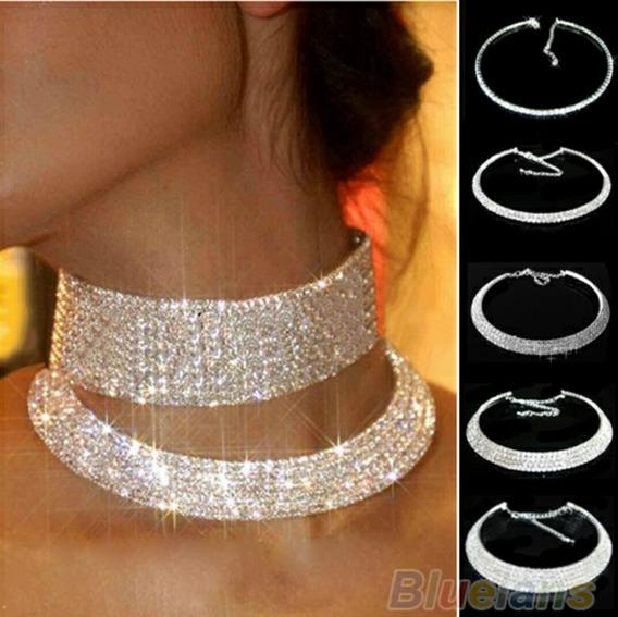 Colar Noiva 5 Linhas Crystal
