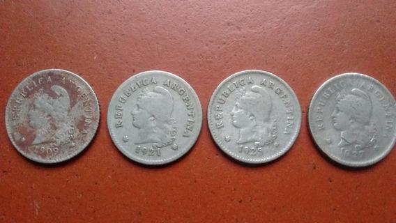 Lote 4 Monedas Argentinas Antiguas 10 Centavos