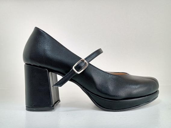 Zapatos Clasico Stiletto Mujer Taco Bajo Pulsera Eco Cuero
