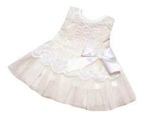 Lindo Vestido Branco - Rosa - Batizado - Reveillon - Festas