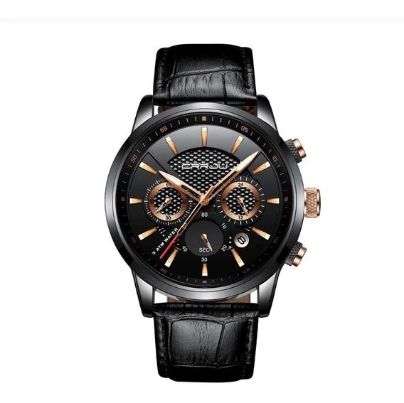 Relógio Unissex Crrju Social Couro Aço Inoxidável Preto Rose
