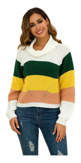 Suéter De Color Arcoíris Para Dama Blusa De Moda Manga Larga