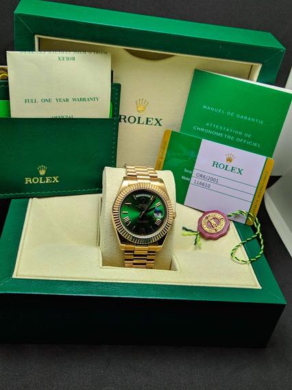Relogio Day Date C. Caixa - Rose Gold Fundo Verde - Promoção