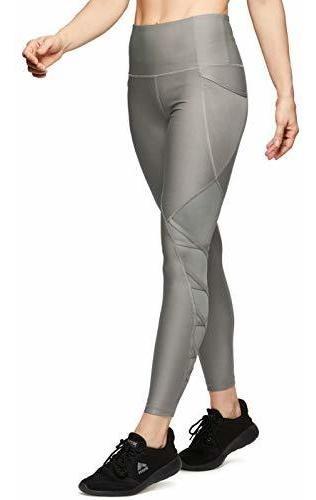 Leggings Para Mujer Rbx Active Con Malla Y Azul Metalico L