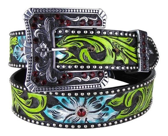 Cinto Country Couro Arizona Belts Flor Strass Vermelho 7119