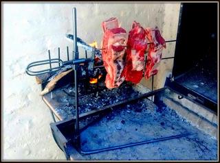 Asador 2 Pinches A La Llama Portatil Asado Pesca Camping