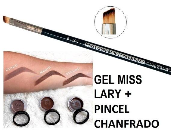 Pincel Chanfrado + Gel De Sobrancelha Miss Lary - Pastinha
