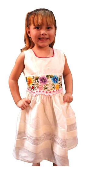Vestido Para Niña Color Hueso De Lino Y Algodón
