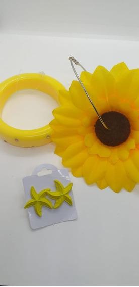 Bracelete Amarelo,ac.brinco Girassol E Estrela Do Mar
