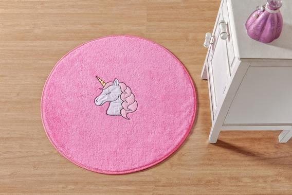 Tapete De Pelucia Bordado Unicornio 65cm Diâmetro Rosa
