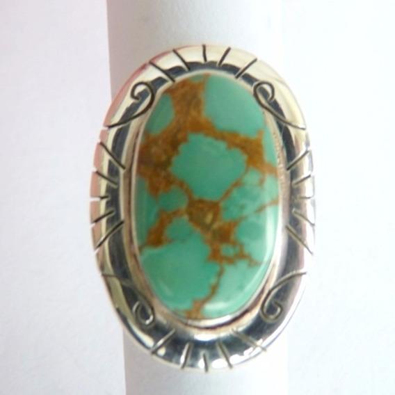 Anel De Prata Sólida 925 Com Garantia Pedra Turquesa 8446
