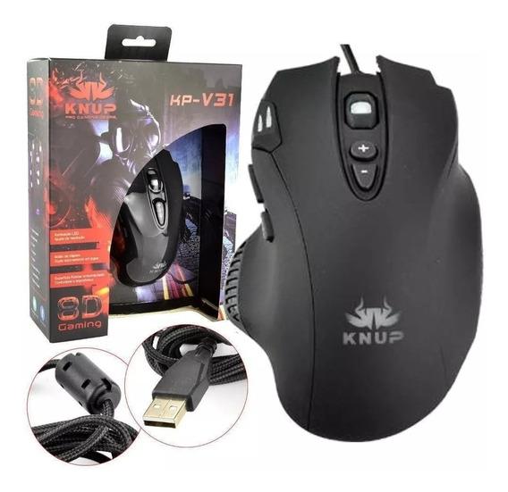 Mouse Gamer Barato Com Led 2400 Dpi Usb 8 Botões Knup Kp-v31