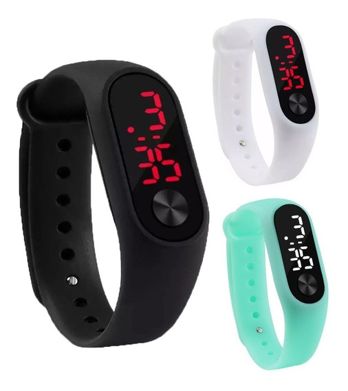 Relógio Led Digital Esporte Bracelete Adulto Infanti Em 12x